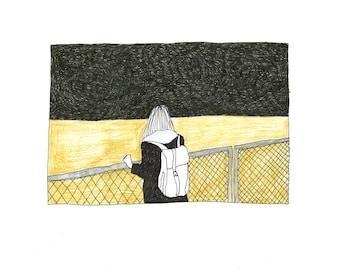 sea girl ll printed illustration
