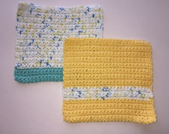 Crochet Dishcloths/ Washcloths - Set of 2