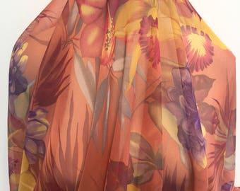 17-292 Hawaiian Floral Chiffon on Cinnamon Background- Sold by the Yard