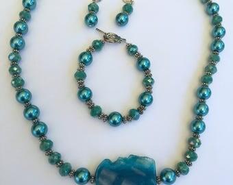 Glass Pearl Jewelry Set/Custom Glass Jewelry Set/Blue Glass Pearl Jewelry Set/3 Piece Glass Jewelry Set.