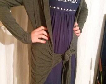 Dark gray viscose fabric long vest