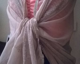Stole made of viscose and cotton printed beige and taupe