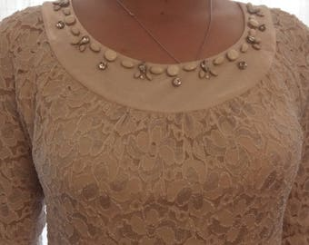 Beige lace Cap sleeves dress