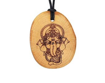 "Soul slices ""Ganesha 1"" wood necklace, vintage * Ethno * hippie * MUST have * statement *"