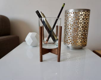 Mid-Century Modern Pencil Holder: Walnut and Glass