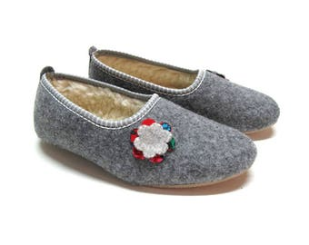Polish Felted Wool Slippers, Folk-Inspired Handmade Comfortable Carpet Slippers, Womens Shoes
