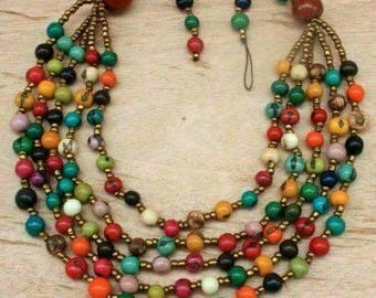 Multi coloured beaded Necklace