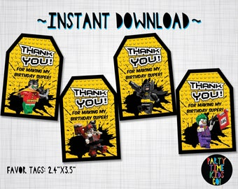 The Batman Lego Movie Favor Tags Birthday Party Thank you Tags Goodie Bag Tag Gift Label Printables INSTANT DOWNLOAD Invitation Available