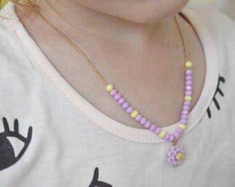 Purple beaded necklace, Necklace for girl, Kids Jewelry, Children Jewelry, Girl Necklace, Resin Flower