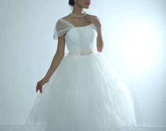 Retro feel vintage inspired layers tulle tea length lace and tulle wedding dress Custom make for any color