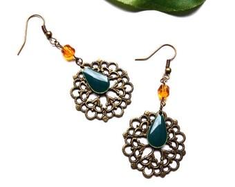 Orange sequin engraving filigree bronze ♦ Pearl drop earrings earrings faceted green sequin