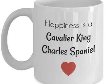 Cavalier King Charles Spaniel Mug – Happiness Is a Cavalier King Charles Spaniel - Dog Lover Coffee Cup Gift, 11 oz.