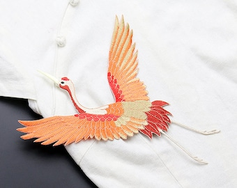 Red-crowned Crane Iron-On Patches, Bird Applique