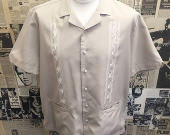 Vintage 1950's Mens Haband Guayabera Shirt Beige Large FREE WORLDWIDE POSTAGE