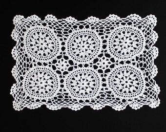 Vintage white crochet doily, 100% cotton