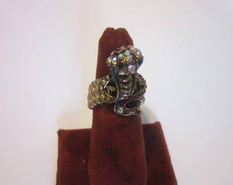 Vintage Jeweled Striking Cobra Snake Rhinestone Statement Ring