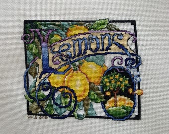 Lemons Crate Label - completed cross-stich
