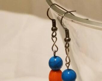 Blue and Orange Fish Hook Dangle Earrings