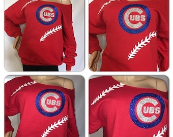 ON SALE Cubs Glitter Sweatshirt | chicago Cubs | cubbies off the shoulder sweatshirt