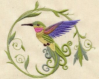 Embroidered Kitchen Towel, Tea Towel, Hand Towel, Dish Towel, Kitchen Decor, Bar Accessory, Drying Cloth, Hummingbird
