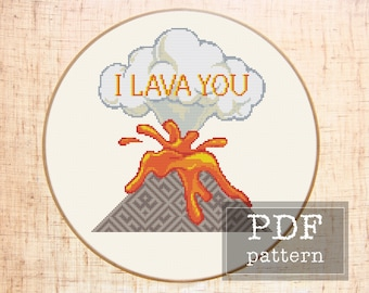 I lava you DIY Funny cross stitch pattern Modern quote cross stitch Geometric embroidery Love Mountain cross stitch Anniversary gift DIY