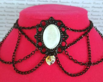 Handpainted white stone and black chain choker necklace gothic victorian