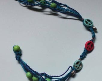 Organic Hemp Peace Sign Beaded Choker Summer California Festival Wear