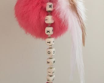 Personalised keycharm/keyring/bag  harm with lovely colour pompom. Choose Any name or word.