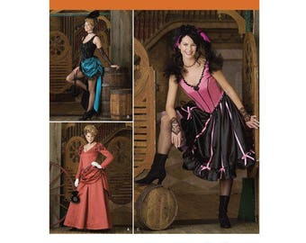 Simplicity 2851, Misses Dancehall, Old West, Burlesque, Tombstone, Steampunk, Saloon Girl, CanCan Dancer, Madam, pattern. Sizes 6-12. NEW
