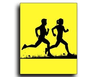 Race, Run, Jog, Sport, Jogging, Leisure, Man, Woman,  Marathon, gifts for runners, Running print, Running poster, running art, Fitness print