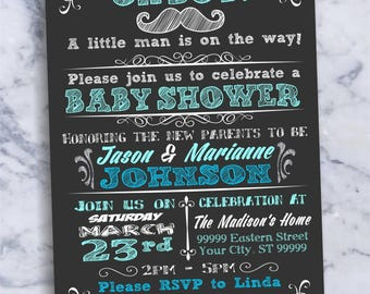 Baby Shower Boy Invitation Oh Boy Card Chalkboard Chalk Board Photo Picture Blue Printable Custom 1063
