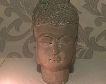 Stone Mix Ceramic Buddha Head Figurine, Small Buddha Head Statue for Home, Decorative Buddha Head Ornament