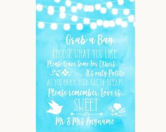 Aqua Sky Blue Lights Grab A Bag Candy Buffet Cart Sweets Wedding Sign