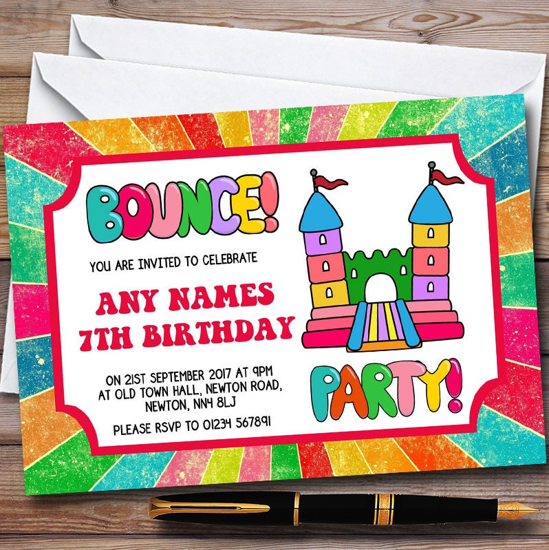 Invitations Announcements Paper Paper Party Supplies – Bouncy Castle Party Invitations