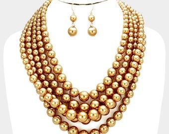 Multi Strand Gold Pearl Necklace
