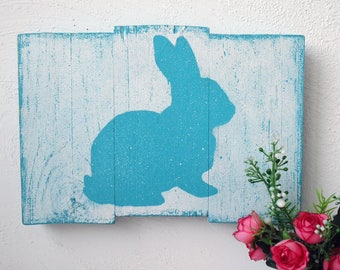 Blue Bunny nursery decor, Baby Girl Nursery Decor, bunny wall art, Blue Bunny sign wood, animal nursery wall decor, woodland nursery