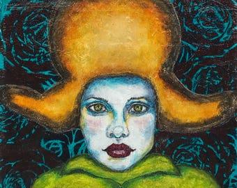 "Alchemy Soul Arts ""Ancestral Wind"" 8.5""x11"" Mixed Media Portrait Art Print"