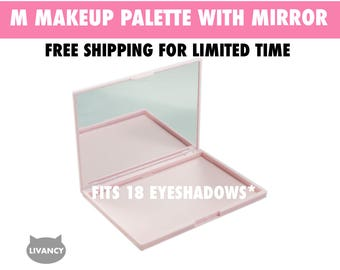 M Makeup Palette Pink with Mirror - Magnetic - Fits 18 Eyeshadows*
