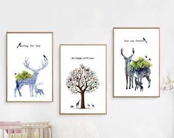 LOVE  canvas deer  Giglee Canvas or Print