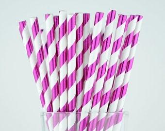 Pink Foil Striped Paper Straws - Party Decor Supply - Cake Pop Sticks - Party Favor