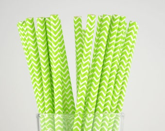 Grass Green Chevron Paper Straws - Mason Jar Straws - Party Decor Supply - Cake Pop Sticks - Party Favor