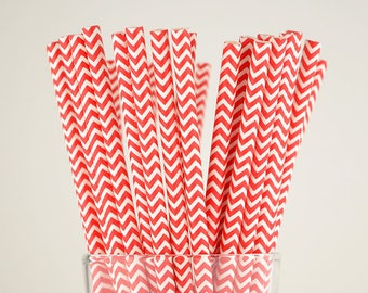 Red Chevron Paper Straws - Mason Jar Straws - Party Decor Supply - Cake Pop Sticks - Party Favor