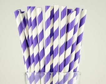 Violet Striped Paper Straws - Mason Jar Straws - Party Decor Supply - Cake Pop Sticks - Party Favor