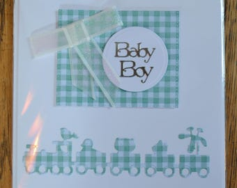 New Baby Boy card with blue gingham & ribbon detail card to congratulate