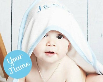 Personalised Baby Hooded Towel with Blue Trim