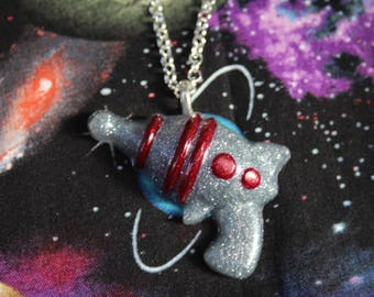Dark Silver Retro Ray Gun Necklace