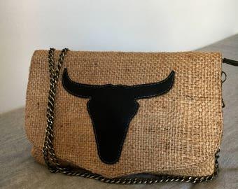 Buffalo jute canvas bag
