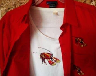 Ladies Lasolas, crawfish shirt and matching tee. Large