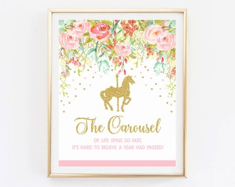 Carousel first birthday party decoration, watercolor flowers, pink and gold, instant download print 003