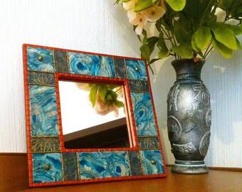 Mirror Small mirror Polymer clay mirror Best gift Unique polymer mirror Boho style mirror Decorative mirror Green mirror